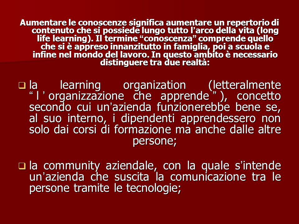 Si è soliti distinguere tra conoscenze (sapere), abilità (saper fare) e competenze (saper essere): Le CONOSCENZE sono acquisite studiando e memorizzan