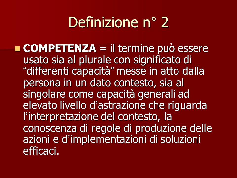 Definizione n° 1 COMPETENZA = caratteristica intrinseca individuale che è casualmente collegata ad una performance efficace e /o superiore in una mans
