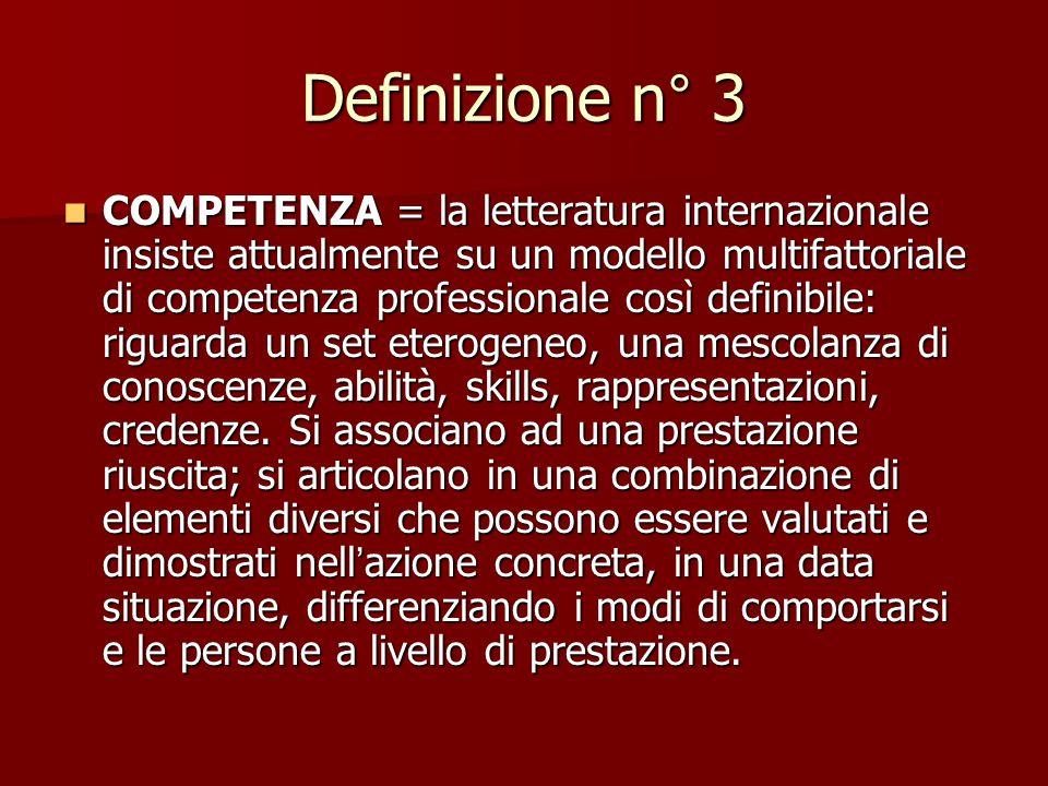 """Definizione n° 2 COMPETENZA = il termine può essere usato sia al plurale con significato di """" differenti capacità """" messe in atto dalla persona in un"""