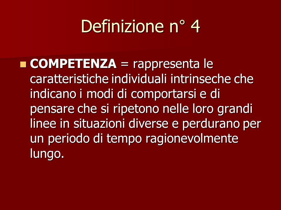 Definizione n° 3 COMPETENZA = la letteratura internazionale insiste attualmente su un modello multifattoriale di competenza professionale così definib