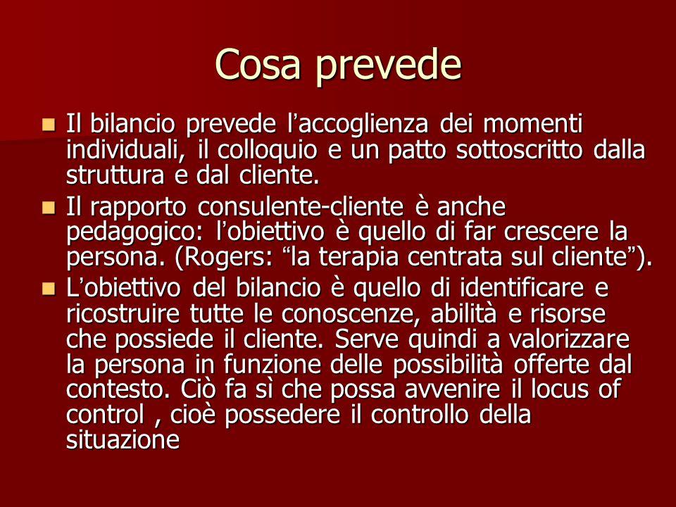 Bilancio Italia In Italia il bilancio di competenze è svolto in strutture pubbliche e nei centri per l'impiego; queste strutture sono andate a sostitu