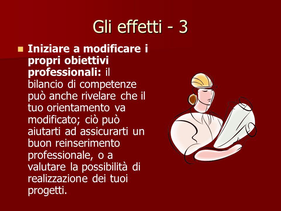 Gli effetti - 2 Definire un orientamento professionale: grazie a queste conoscenze, potrai più facilmente orientarti professionalmente, definire un pr