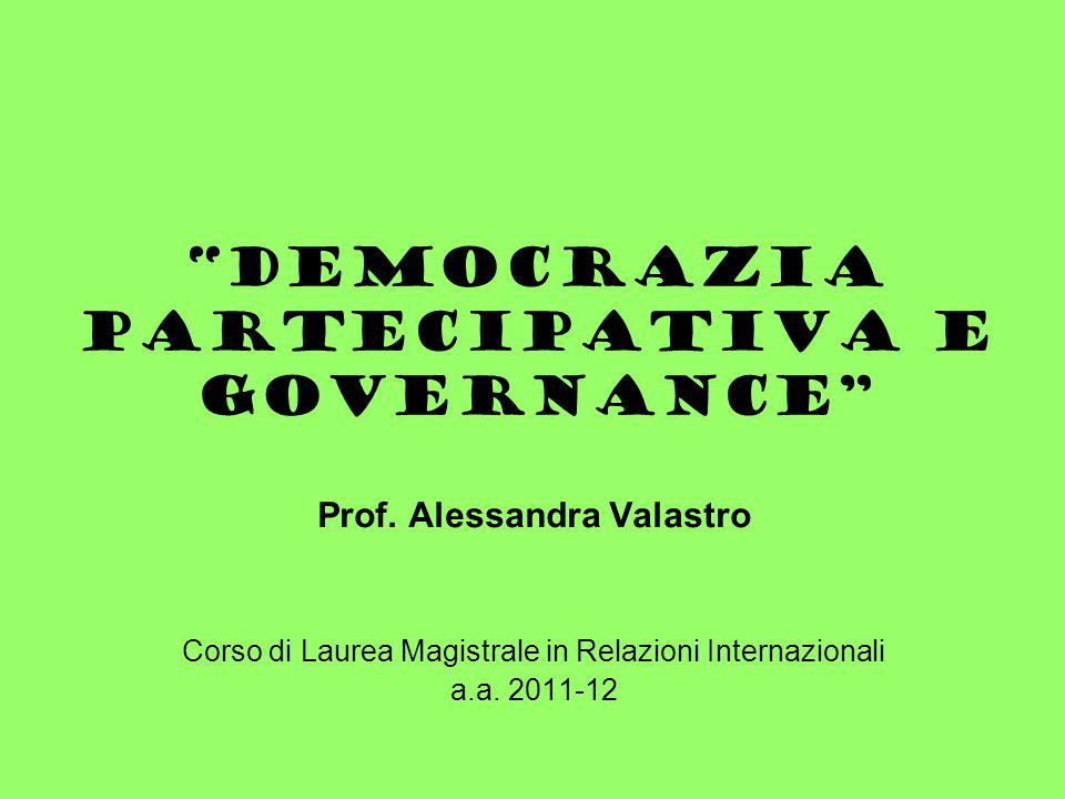 Democrazia partecipativa e governance Prof.