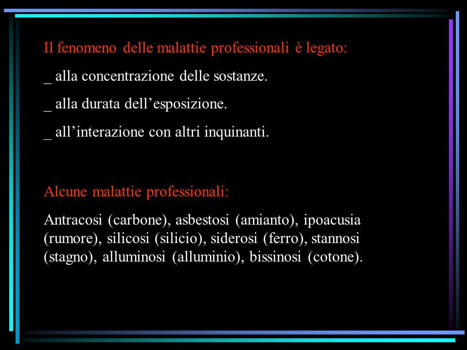 Il fenomeno delle malattie professionali è legato: _ alla concentrazione delle sostanze. _ alla durata dell'esposizione. _ all'interazione con altri i