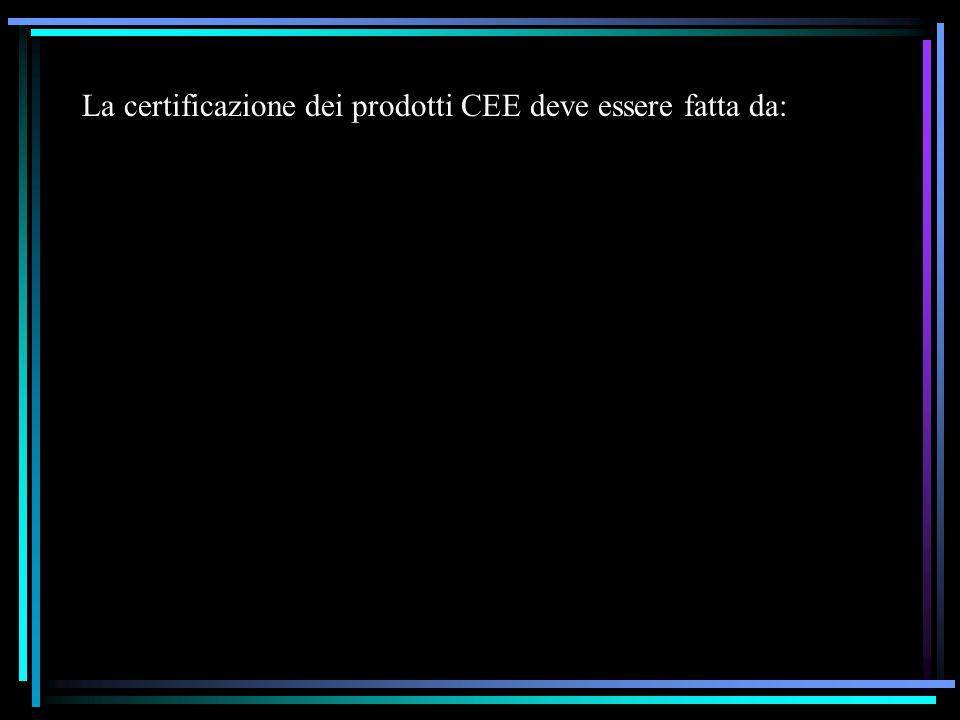 La certificazione dei prodotti CEE deve essere fatta da: