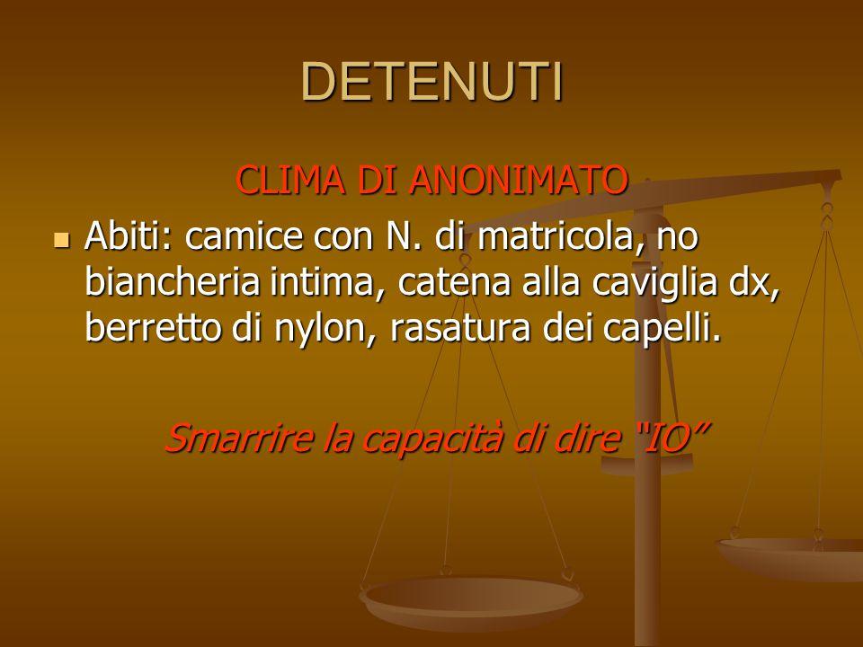DETENUTI CLIMA DI ANONIMATO Abiti: camice con N. di matricola, no biancheria intima, catena alla caviglia dx, berretto di nylon, rasatura dei capelli.