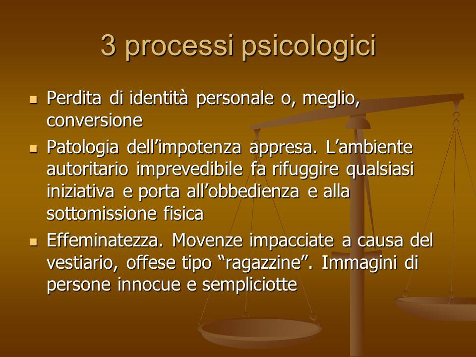 3 processi psicologici Perdita di identità personale o, meglio, conversione Perdita di identità personale o, meglio, conversione Patologia dell'impotenza appresa.