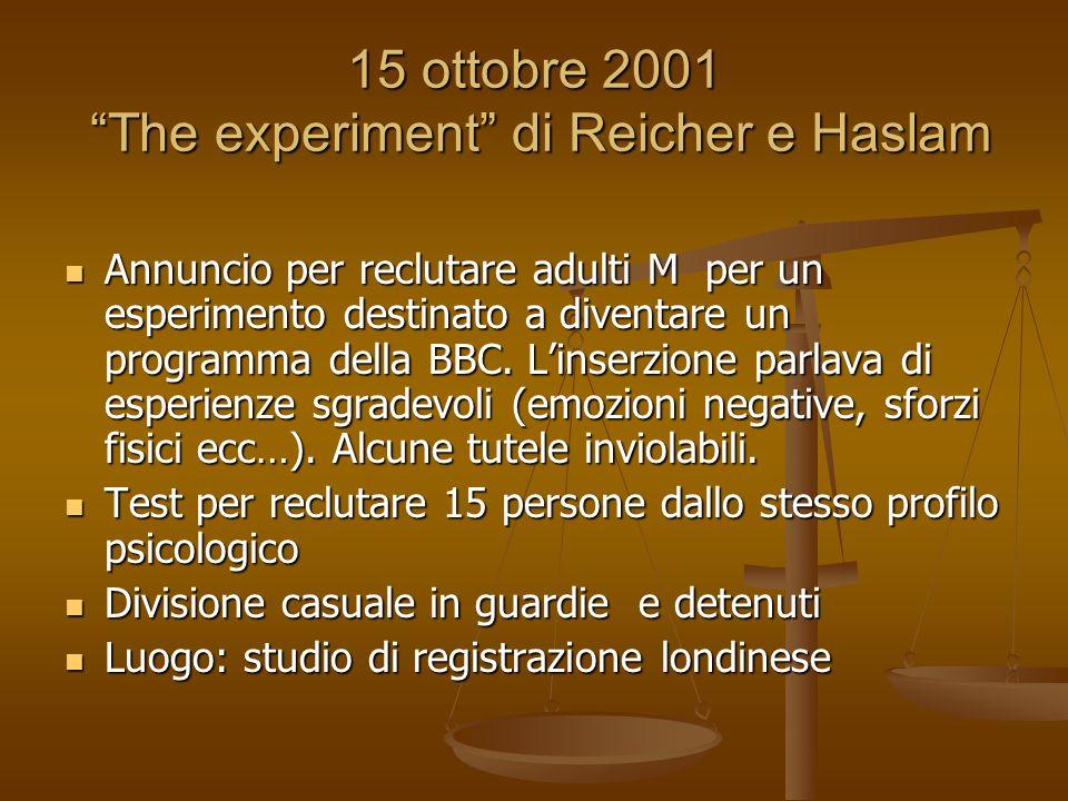 15 ottobre 2001 The experiment di Reicher e Haslam Annuncio per reclutare adulti M per un esperimento destinato a diventare un programma della BBC.