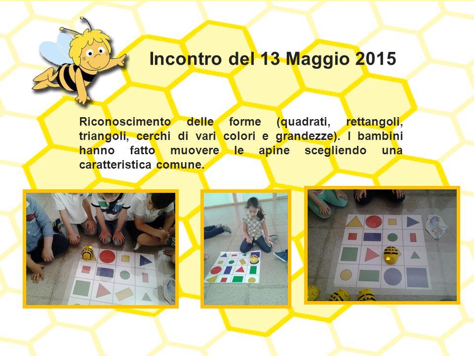 Incontro del 13 Maggio 2015 Riconoscimento delle forme (quadrati, rettangoli, triangoli, cerchi di vari colori e grandezze). I bambini hanno fatto muo