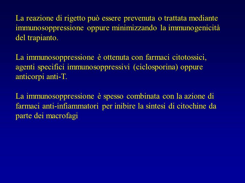 La reazione di rigetto può essere prevenuta o trattata mediante immunosoppressione oppure minimizzando la immunogenicità del trapianto. La immunosoppr