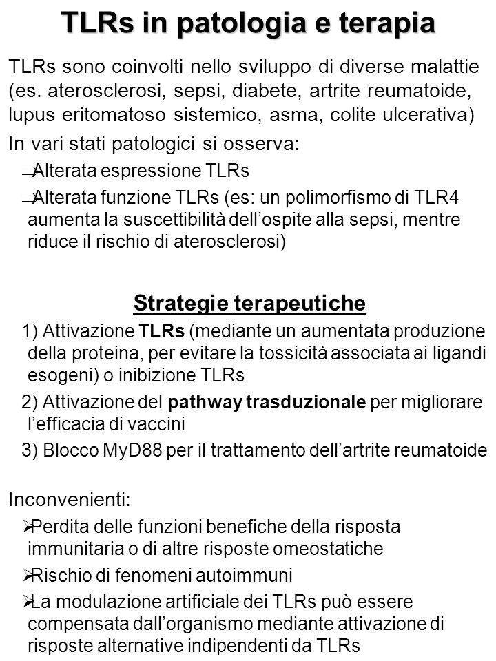 TLRs in patologia e terapia TLRs sono coinvolti nello sviluppo di diverse malattie (es.