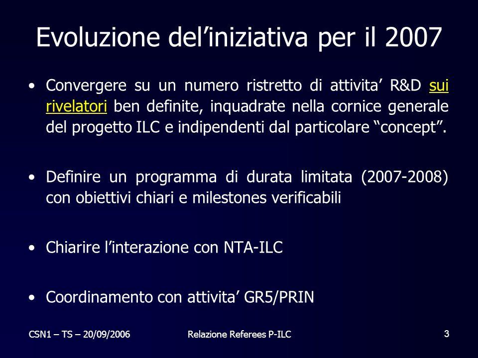 CSN1 – TS – 20/09/2006Relazione Referees P-ILC 4 Attività P-ILC Due filoni principali: Pixel per rivelatore di vertice Calorimetria (nuovo !)