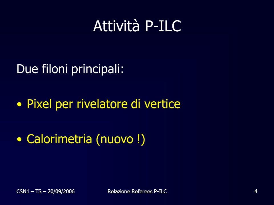 CSN1 – TS – 20/09/2006Relazione Referees P-ILC 15 Milano : 3.4 FTE
