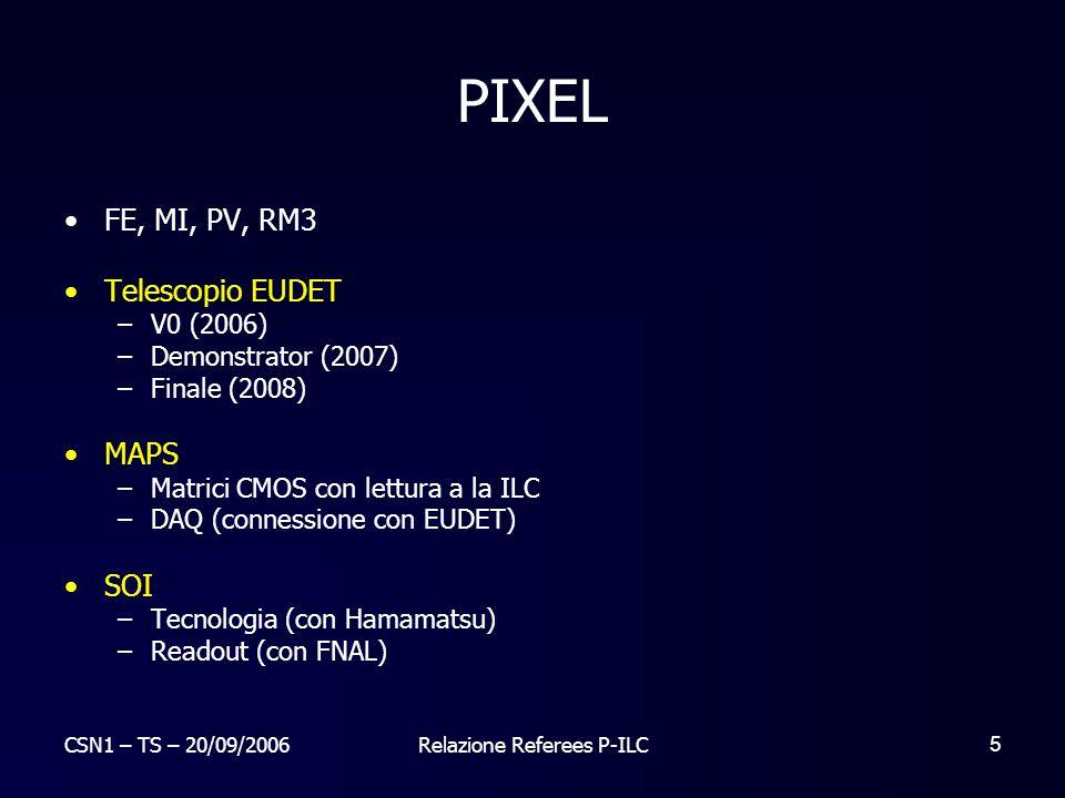 CSN1 – TS – 20/09/2006Relazione Referees P-ILC 6 Telescopio EUDET Goal finale: testare MAPS in stile ILC nel telescopio finale.