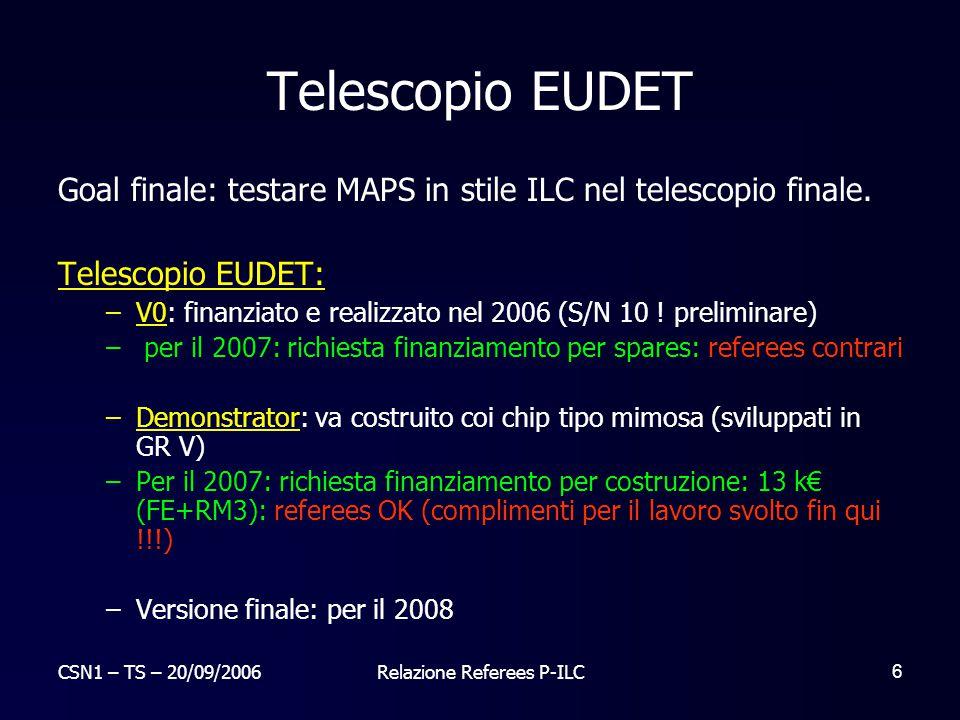 CSN1 – TS – 20/09/2006Relazione Referees P-ILC 7 MAPS Sensori sotto test nel telescopio EUDET 2006: Sottomissione 11/2006 struttura MAPS 0.13 um a 8x8 canali (derivazione da APSEL SLIM5) a passo 20 µm con readout a la ILC sviluppato con FNAL – gia' finanziato 2007: studio della sottomissione precedente e in caso di esito positivo sottomissione di matrice 128x128.