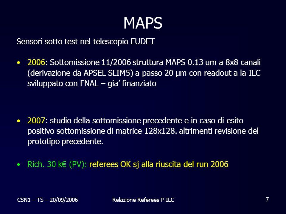 CSN1 – TS – 20/09/2006Relazione Referees P-ILC 7 MAPS Sensori sotto test nel telescopio EUDET 2006: Sottomissione 11/2006 struttura MAPS 0.13 um a 8x8