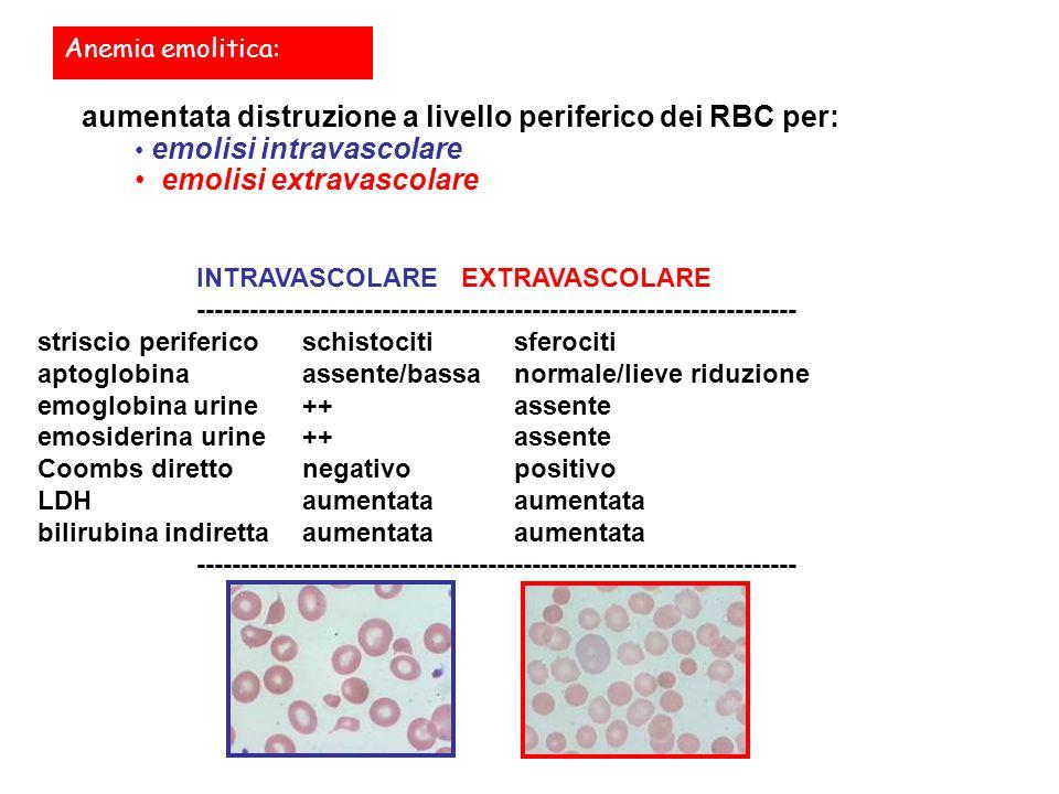 Anemia emolitica: aumentata distruzione a livello periferico dei RBC per: emolisi intravascolare emolisi extravascolare INTRAVASCOLAREEXTRAVASCOLARE -------------------------------------------------------------------- striscio perifericoschistocitisferociti aptoglobinaassente/bassanormale/lieve riduzione emoglobina urine++assente emosiderina urine++assente Coombs direttonegativopositivo LDHaumentataaumentata bilirubina indirettaaumentataaumentata --------------------------------------------------------------------