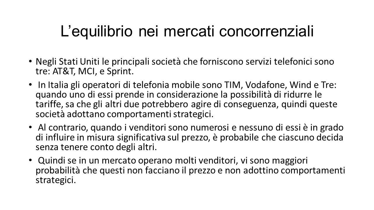 L'equilibrio nei mercati concorrenziali Negli Stati Uniti le principali società che forniscono servizi telefonici sono tre: AT&T, MCI, e Sprint.