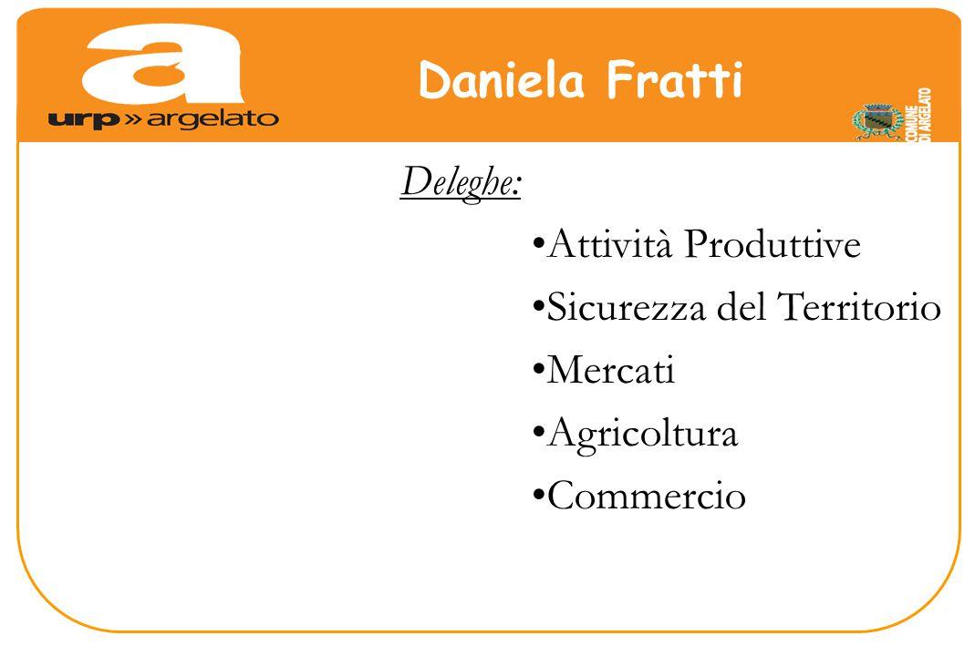 Deleghe: Attività Produttive Sicurezza del Territorio Mercati Agricoltura Commercio Daniela Fratti