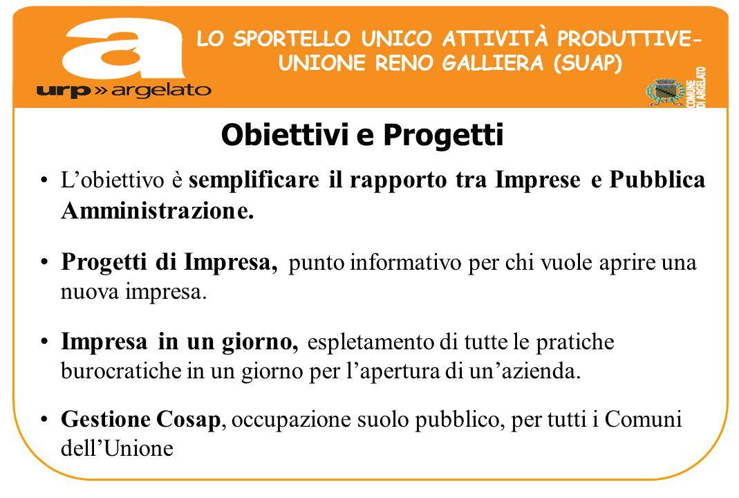 Obiettivi e Progetti L'obiettivo è semplificare il rapporto tra Imprese e Pubblica Amministrazione.