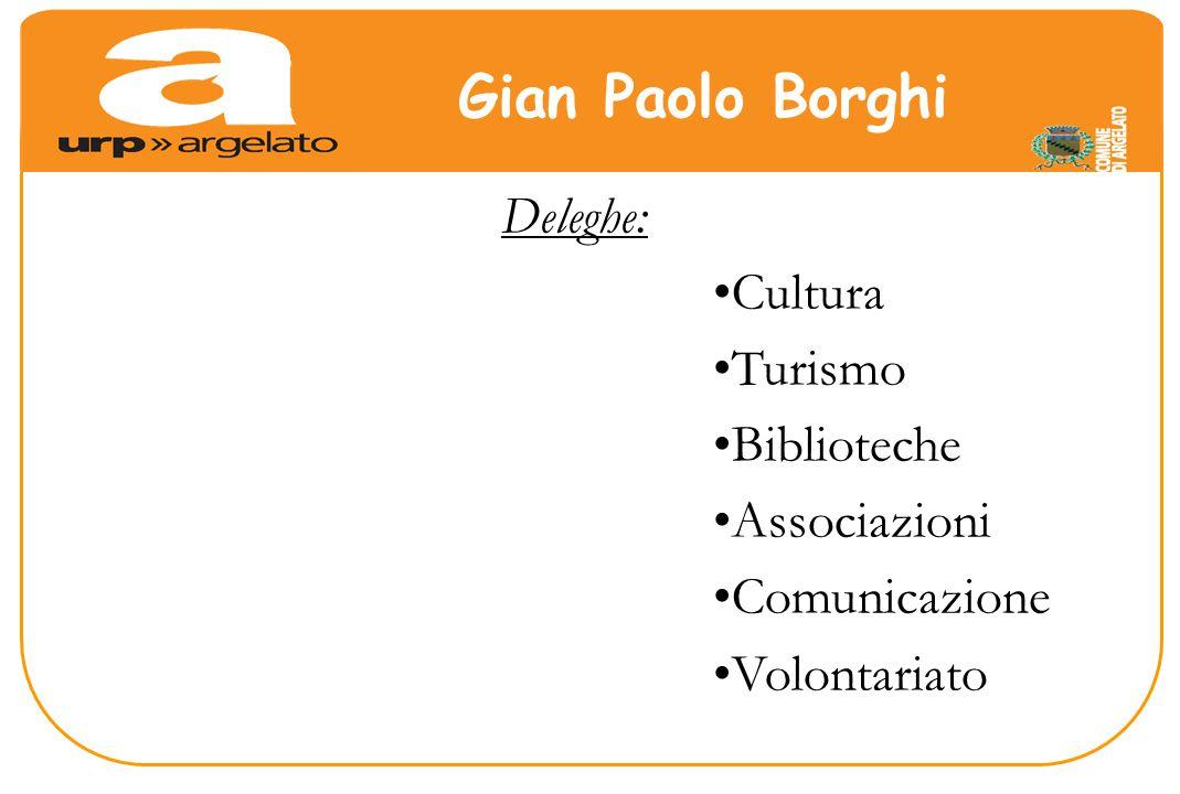 Deleghe: Cultura Turismo Biblioteche Associazioni Comunicazione Volontariato Gian Paolo Borghi