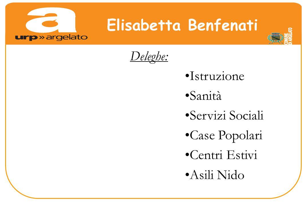 Deleghe: Istruzione Sanità Servizi Sociali Case Popolari Centri Estivi Asili Nido Elisabetta Benfenati
