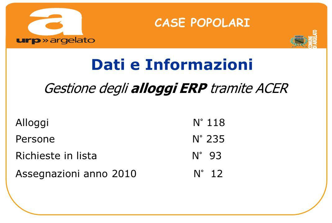 Alloggi N° 118 Persone N° 235 Richieste in lista N° 93 Assegnazioni anno 2010 N° 12 Dati e Informazioni CASE POPOLARI Gestione degli alloggi ERP tramite ACER