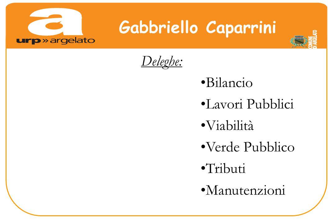Deleghe: Bilancio Lavori Pubblici Viabilità Verde Pubblico Tributi Manutenzioni Gabbriello Caparrini