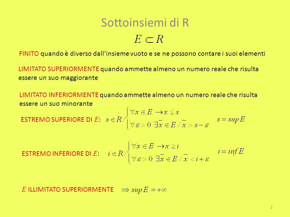 Sottoinsiemi di R FINITO quando è diverso dall'insieme vuoto e se ne possono contare i suoi elementi LIMITATO SUPERIORMENTE quando ammette almeno un n