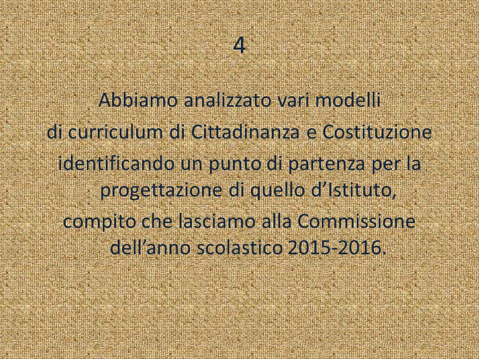 4 Abbiamo analizzato vari modelli di curriculum di Cittadinanza e Costituzione identificando un punto di partenza per la progettazione di quello d'Ist