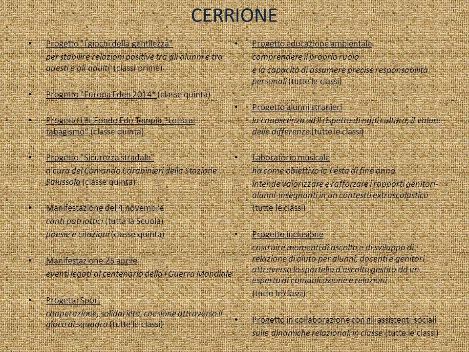 CERRIONE Progetto