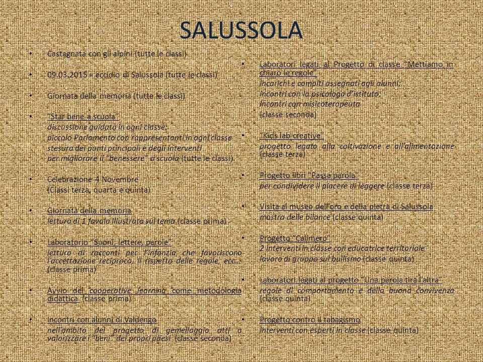 """SALUSSOLA Castagnata con gli alpini (tutte le classi) 09.03.2015 = eccidio di Salussola (tutte le classi) Giornata della memoria (tutte le classi) """"St"""