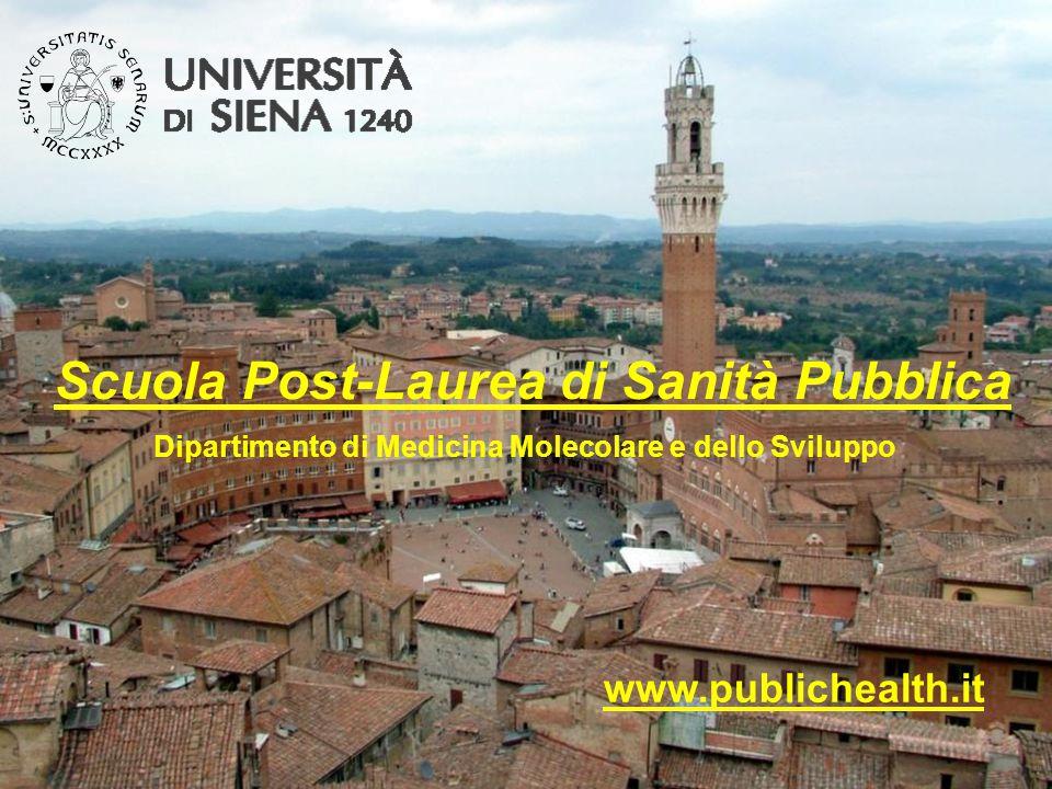 Scuola Post-Laurea di Sanità Pubblica www.publichealth.it Dipartimento di Medicina Molecolare e dello Sviluppo