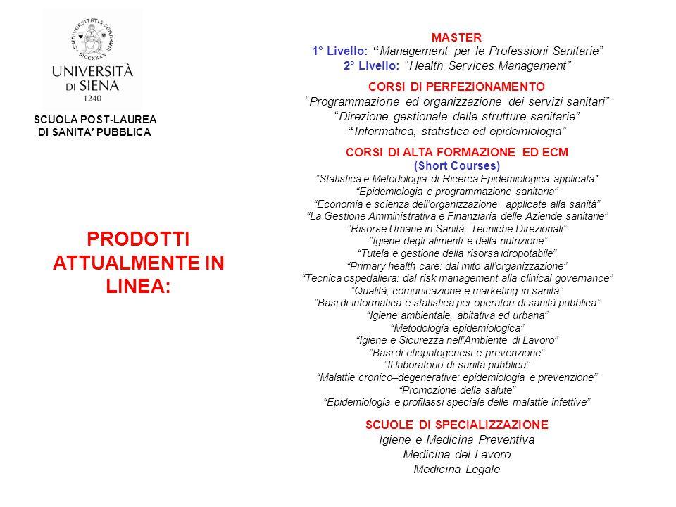 MASTER 1° Livello: Management per le Professioni Sanitarie 2° Livello: Health Services Management CORSI DI PERFEZIONAMENTO Programmazione ed organizzazione dei servizi sanitari Direzione gestionale delle strutture sanitarie Informatica, statistica ed epidemiologia CORSI DI ALTA FORMAZIONE ED ECM (Short Courses) Statistica e Metodologia di Ricerca Epidemiologica applicata Epidemiologia e programmazione sanitaria Economia e scienza dell'organizzazione applicate alla sanità La Gestione Amministrativa e Finanziaria delle Aziende sanitarie Risorse Umane in Sanità: Tecniche Direzionali Igiene degli alimenti e della nutrizione Tutela e gestione della risorsa idropotabile Primary health care: dal mito all'organizzazione Tecnica ospedaliera: dal risk management alla clinical governance Qualità, comunicazione e marketing in sanità Basi di informatica e statistica per operatori di sanità pubblica Igiene ambientale, abitativa ed urbana Metodologia epidemiologica Igiene e Sicurezza nell'Ambiente di Lavoro Basi di etiopatogenesi e prevenzione Il laboratorio di sanità pubblica Malattie cronico–degenerative: epidemiologia e prevenzione Promozione della salute Epidemiologia e profilassi speciale delle malattie infettive SCUOLE DI SPECIALIZZAZIONE Igiene e Medicina Preventiva Medicina del Lavoro Medicina Legale PRODOTTI ATTUALMENTE IN LINEA: SCUOLA POST-LAUREA DI SANITA' PUBBLICA