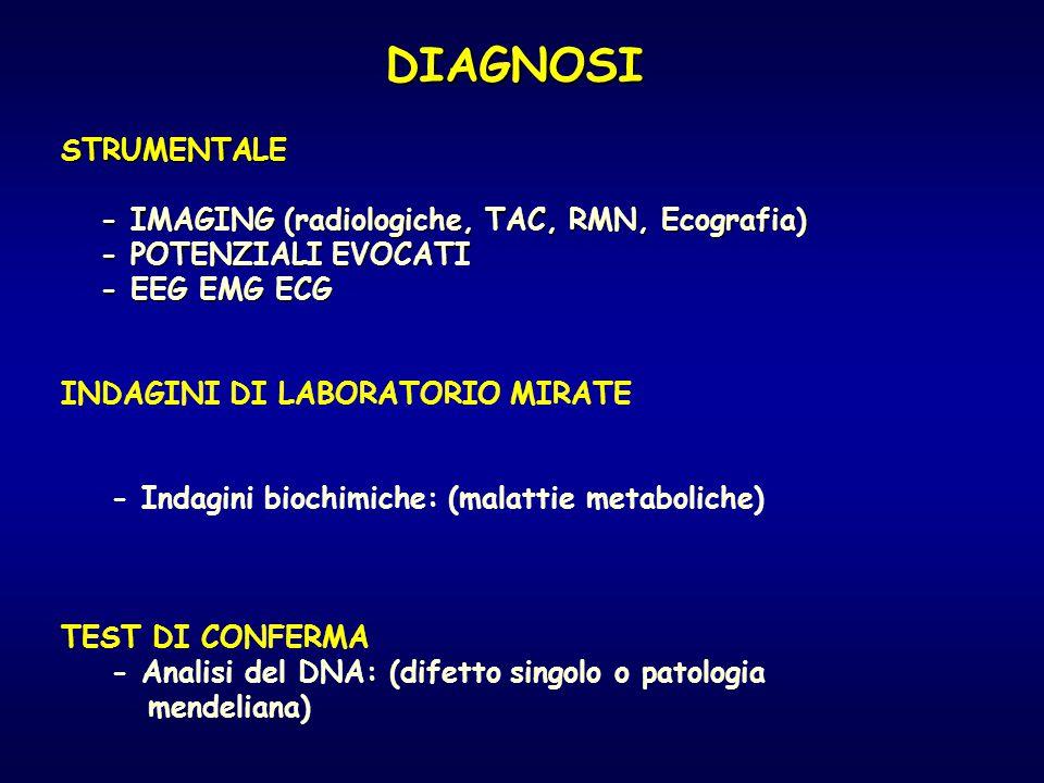 DIAGNOSI STRUMENTALE STRUMENTALE - IMAGING (radiologiche, TAC, RMN, Ecografia) - IMAGING (radiologiche, TAC, RMN, Ecografia) - POTENZIALI EVOCATI - PO