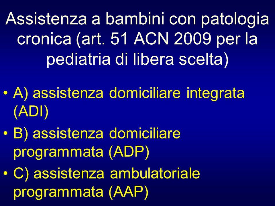 Assistenza a bambini con patologia cronica (art. 51 ACN 2009 per la pediatria di libera scelta) A) assistenza domiciliare integrata (ADI) B) assistenz