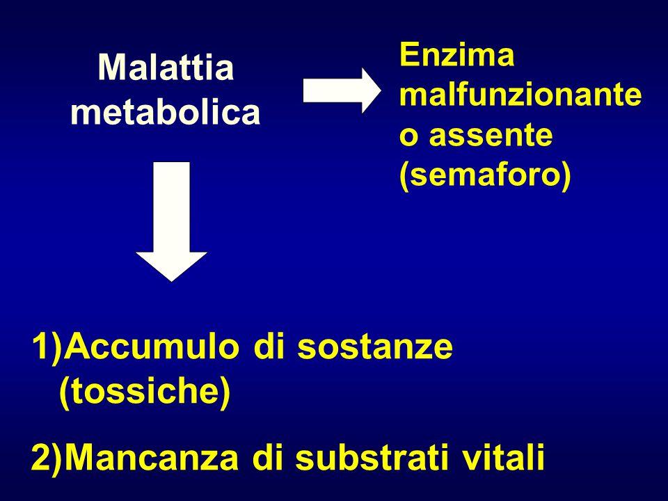 Malattia metabolica Enzima malfunzionante o assente (semaforo) 1)Accumulo di sostanze (tossiche) 2)Mancanza di substrati vitali