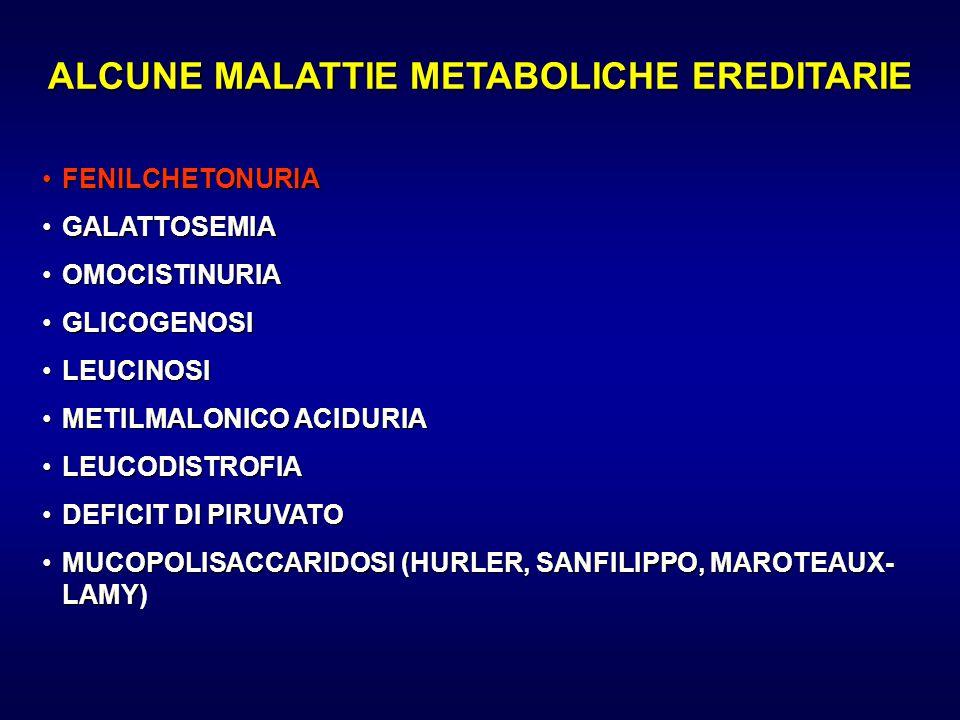 ALCUNE MALATTIE METABOLICHE EREDITARIE FENILCHETONURIAFENILCHETONURIA GALATTOSEMIAGALATTOSEMIA OMOCISTINURIAOMOCISTINURIA GLICOGENOSIGLICOGENOSI LEUCI