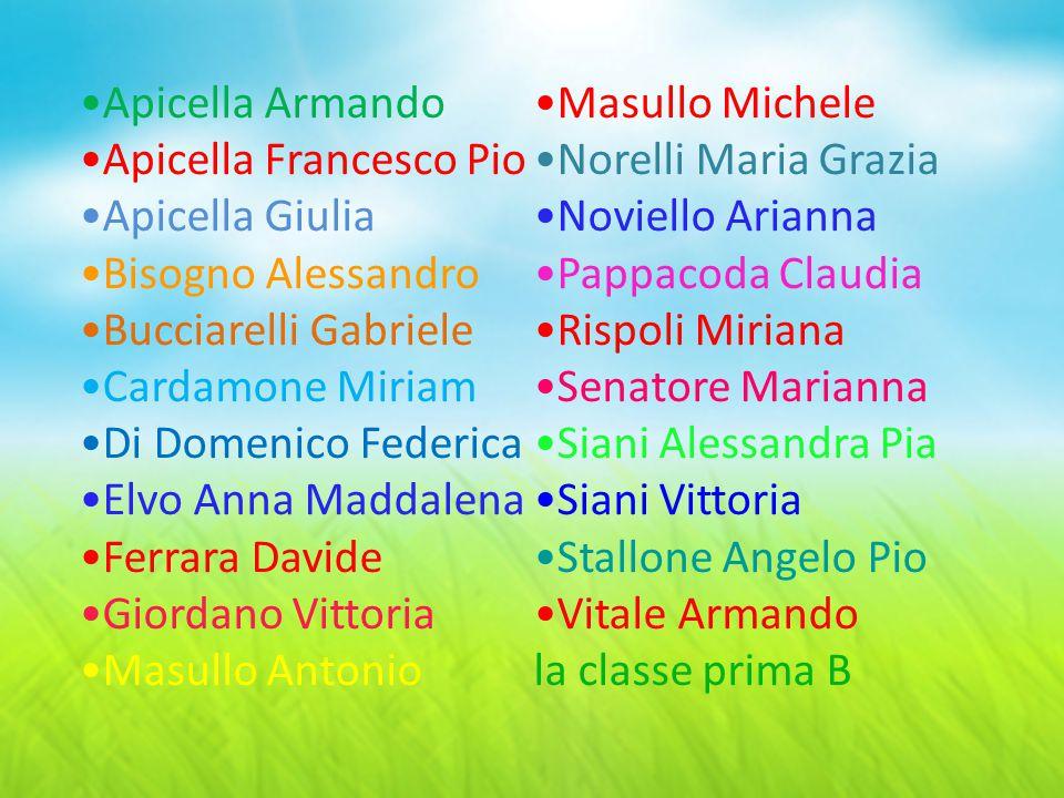 Apicella Armando Apicella Francesco Pio Apicella Giulia Bisogno Alessandro Bucciarelli Gabriele Cardamone Miriam Di Domenico Federica Elvo Anna Maddal