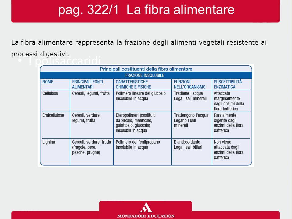 pag. 322/1 La fibra alimentare I polisaccaridi La fibra alimentare rappresenta la frazione degli alimenti vegetali resistente ai processi digestivi.