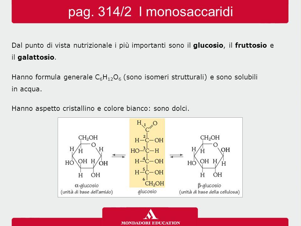 Dal punto di vista nutrizionale i più importanti sono il glucosio, il fruttosio e il galattosio. Hanno formula generale C 6 H 12 O 6 (sono isomeri str