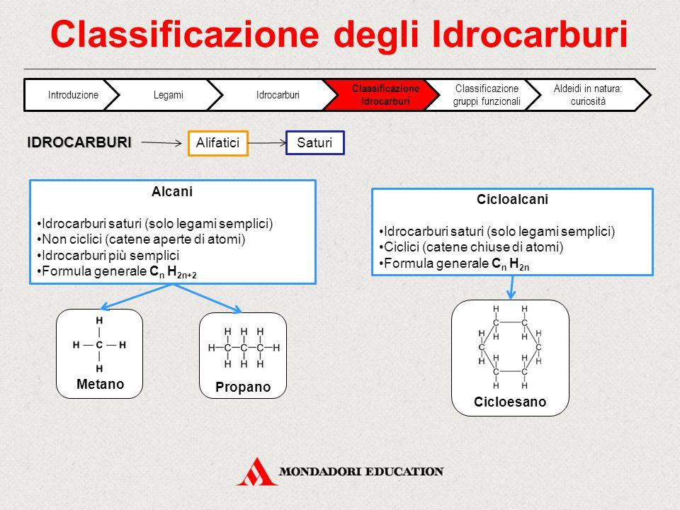 Classificazione degli Idrocarburi Alifatici IDROCARBURI Saturi Alcani Idrocarburi saturi (solo legami semplici) Non ciclici (catene aperte di atomi) Idrocarburi più semplici Formula generale C n H 2n+2 Cicloalcani Idrocarburi saturi (solo legami semplici) Ciclici (catene chiuse di atomi) Formula generale C n H 2n Metano Cicloesano Propano IntroduzioneLegamiIdrocarburi Classificazione Idrocarburi Classificazione gruppi funzionali Aldeidi in natura: curiosità