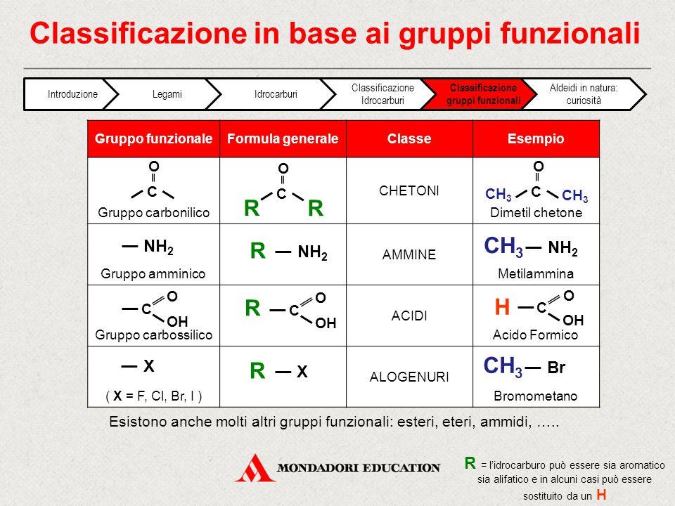 Classificazione in base ai gruppi funzionali Gruppo funzionaleFormula generaleClasseEsempio Gruppo carbonilico CHETONI Dimetil chetone Gruppo amminico AMMINE Metilammina Gruppo carbossilico ACIDI Acido Formico ( X = F, Cl, Br, I ) ALOGENURI Bromometano R CH 3 NH 2 C O C OH O R C O H C O R C O CH 3 NH 2 R = l'idrocarburo può essere sia aromatico sia alifatico e in alcuni casi può essere sostituito da un H CH 3 C OH O R X R X Br CH 3 Esistono anche molti altri gruppi funzionali: esteri, eteri, ammidi, …..