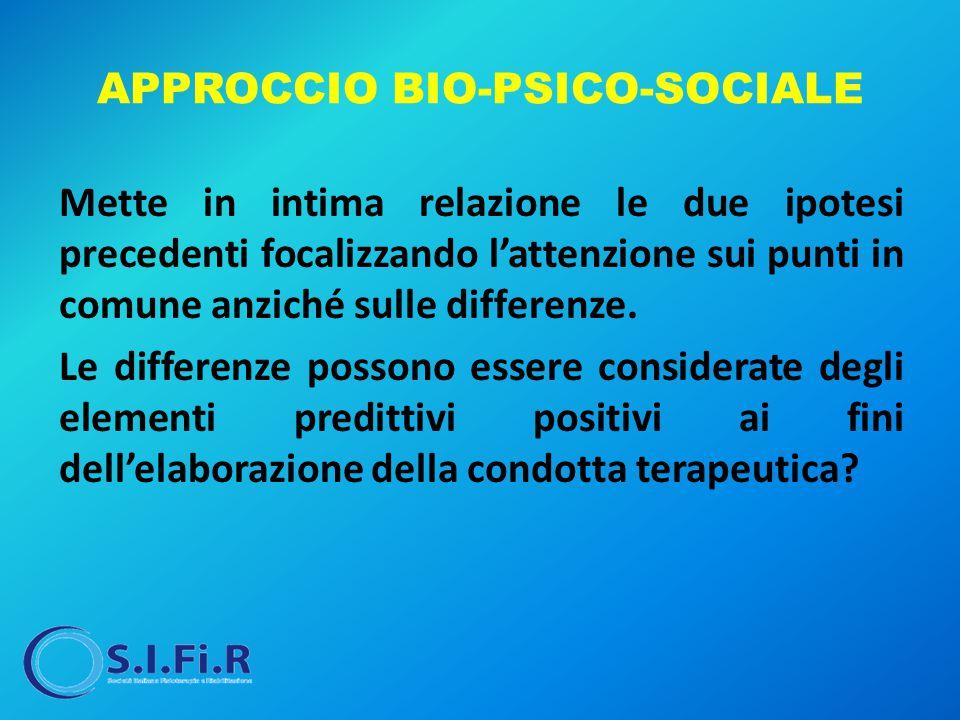 APPROCCIO BIO-PSICO-SOCIALE Mette in intima relazione le due ipotesi precedenti focalizzando l'attenzione sui punti in comune anziché sulle differenze