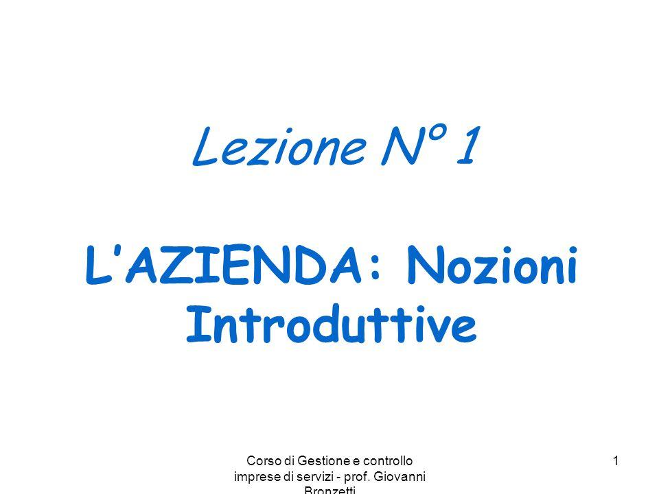 Corso di Gestione e controllo imprese di servizi - prof. Giovanni Bronzetti 1 Lezione N° 1 L'AZIENDA: Nozioni Introduttive