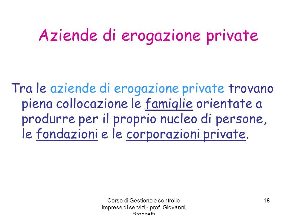 Corso di Gestione e controllo imprese di servizi - prof. Giovanni Bronzetti 18 Aziende di erogazione private Tra le aziende di erogazione private trov