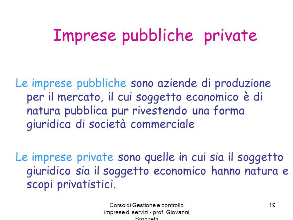 Corso di Gestione e controllo imprese di servizi - prof. Giovanni Bronzetti 19 Imprese pubbliche private Le imprese pubbliche sono aziende di produzio