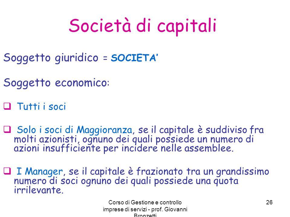 Corso di Gestione e controllo imprese di servizi - prof. Giovanni Bronzetti 26 Società di capitali Soggetto giuridico = SOCIETA' Soggetto economico :