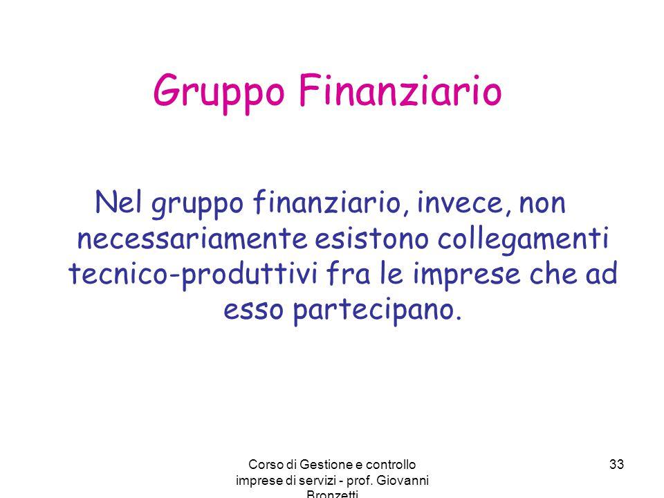 Corso di Gestione e controllo imprese di servizi - prof. Giovanni Bronzetti 33 Gruppo Finanziario Nel gruppo finanziario, invece, non necessariamente