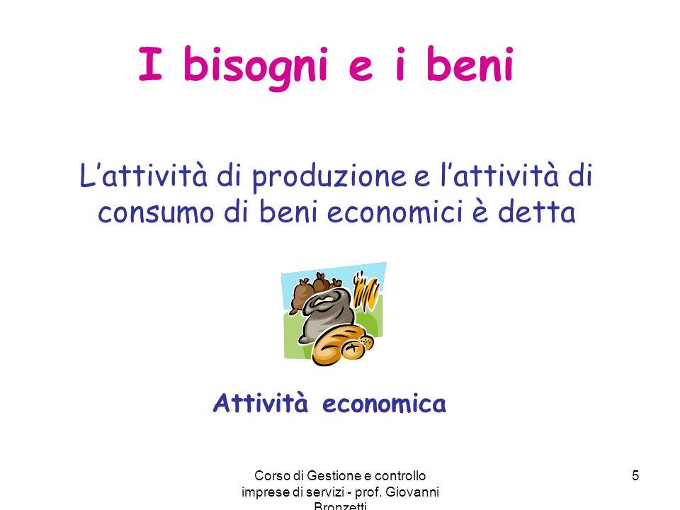 Corso di Gestione e controllo imprese di servizi - prof. Giovanni Bronzetti 5 I bisogni e i beni L'attività di produzione e l'attività di consumo di b
